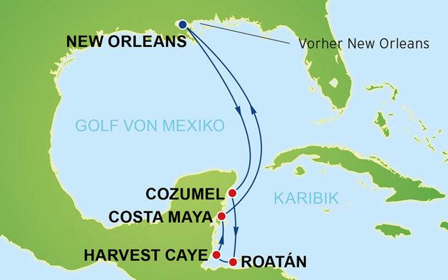 Karibik Karte.Reisearten Kreuzfahrten 11 Tage New Orleans Westliche Karibik